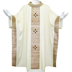 Chasuble in wool with orphrey in silk and sardonyx agate stones s1