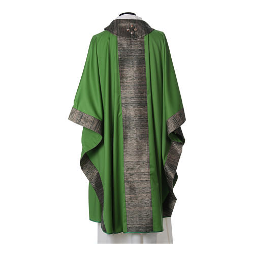 Chasuble in wool with orphrey in silk and sardonyx agate stones 9