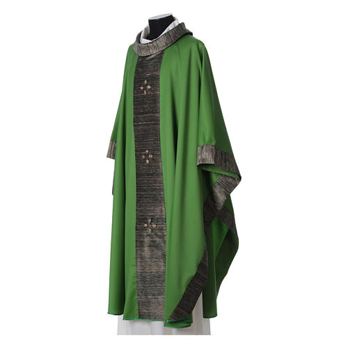 Chasuble in wool with orphrey in silk and sardonyx agate stones 10