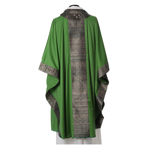 Chasuble in wool with orphrey in silk and sardonyx agate stones 3