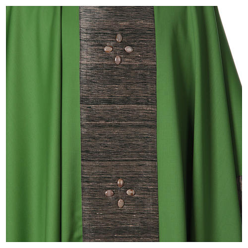 Chasuble in wool with orphrey in silk and sardonyx agate stones 5