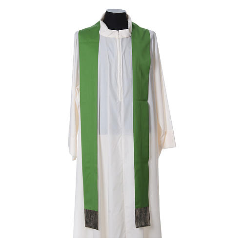 Chasuble in wool with orphrey in silk and sardonyx agate stones 6