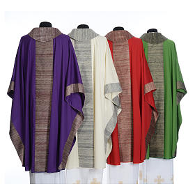 Catholic Chasuble in pure wool with orphrey in pure silk s2