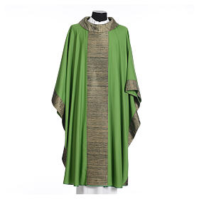 Catholic Chasuble in pure wool with orphrey in pure silk s3