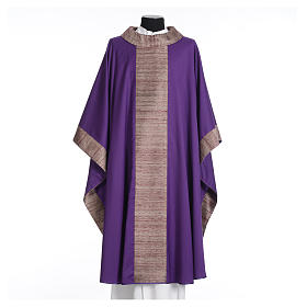 Catholic Chasuble in pure wool with orphrey in pure silk s6