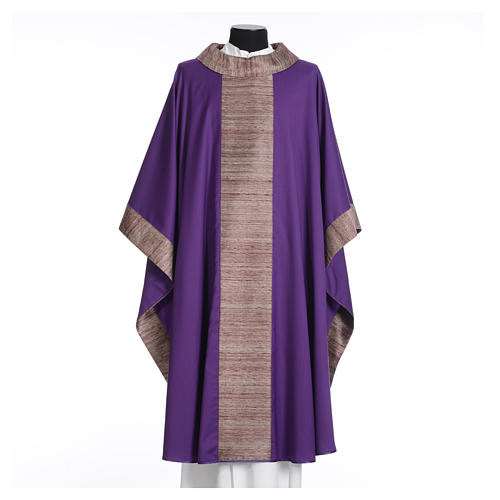 Catholic Chasuble in pure wool with orphrey in pure silk 6