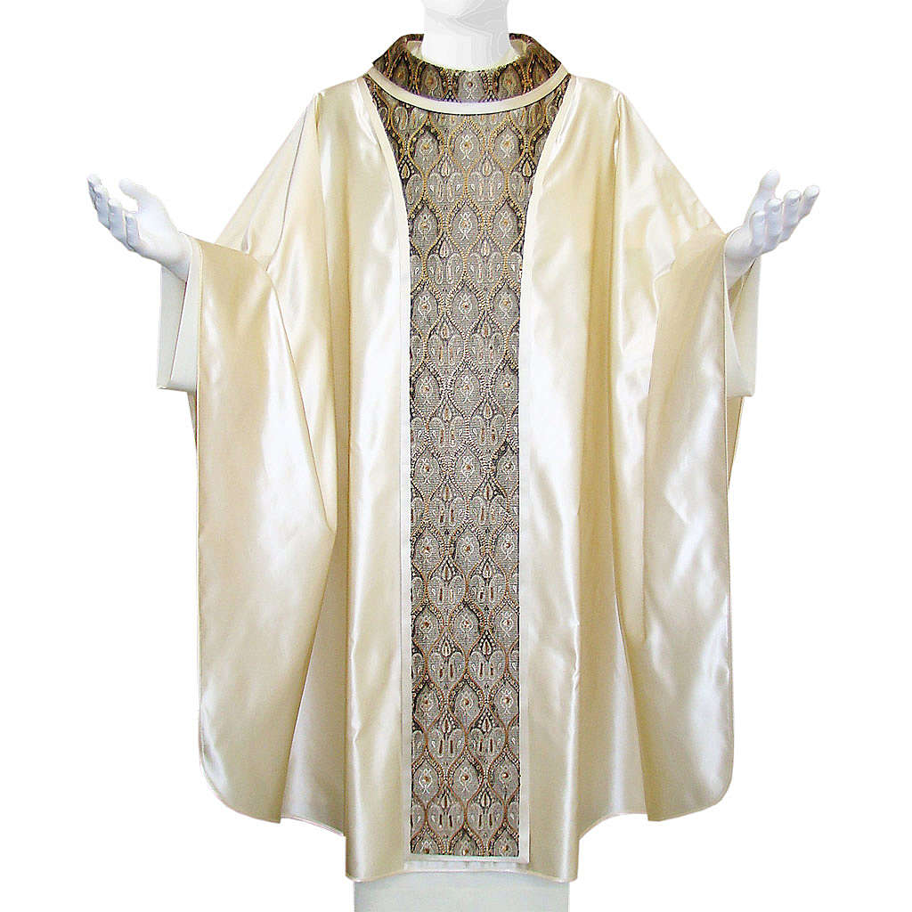 Priest Chasuble in pure silk, with orphrey in Jaquard silk 4