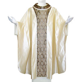 Priest Chasuble in pure silk, with orphrey in Jaquard silk s1