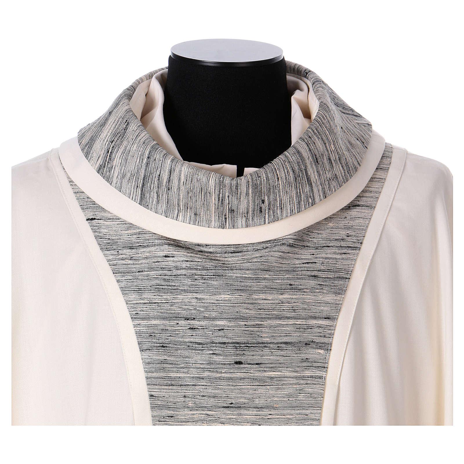 Chasuble 100% laine avec bande centrale et collet 100% soie 4