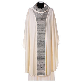 Chasubles: Chasuble 100% laine avec bande centrale et collet 100% soie