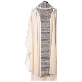 Chasuble 100% laine avec bande centrale et collet 100% soie s3
