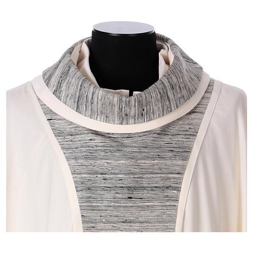 Chasuble 100% laine avec bande centrale et collet 100% soie 2