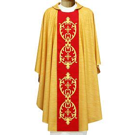 Chasuble or broderie centrale en laine vierge double retors s1