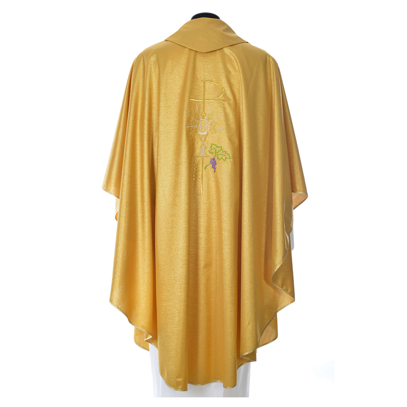 Gold Chasuble in wool and lurex with Chi-Rho, monstrance, wheat 4