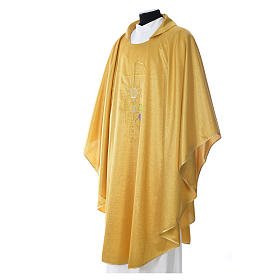 Gold Chasuble in wool and lurex with Chi-Rho, monstrance, wheat s2