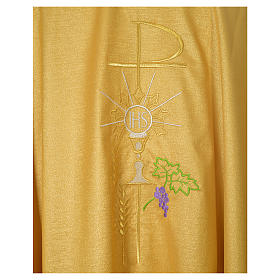 Gold Chasuble in wool and lurex with Chi-Rho, monstrance, wheat s4