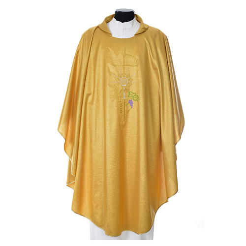 Gold Chasuble in wool and lurex with Chi-Rho, monstrance, wheat 1