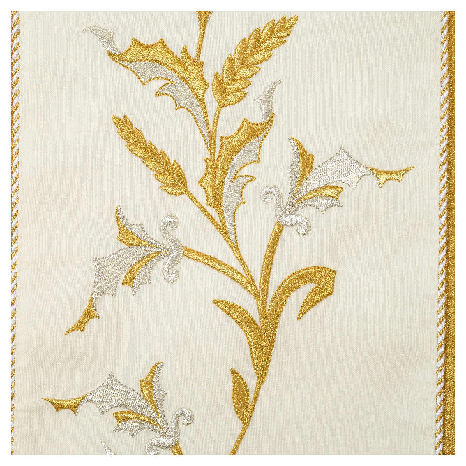 Casula oro 100% pura lana vergine doppio ritorto ricamo fascione 4