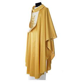 Casula oro 100% pura lana vergine doppio ritorto ricamo fascione s3