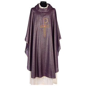 Chasuble Chi-Rho symbol, 100% shiny pure new wool s1