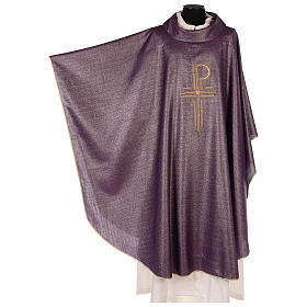 Chasuble Chi-Rho symbol, 100% shiny pure new wool s3
