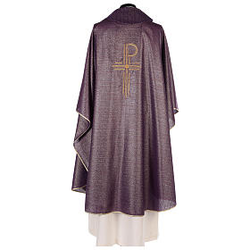 Chasuble Chi-Rho symbol, 100% shiny pure new wool s5