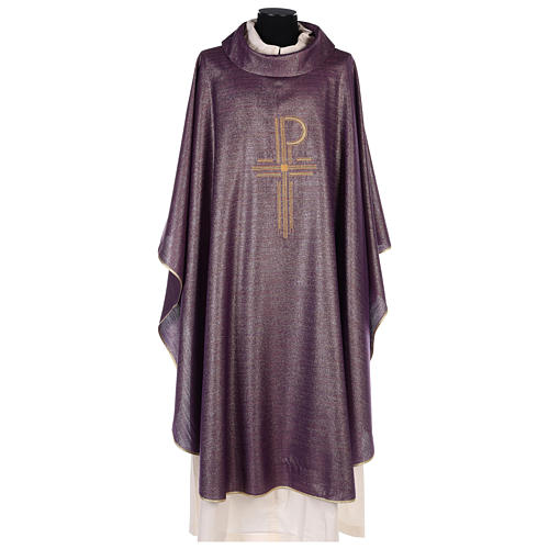 Chasuble Chi-Rho symbol, 100% shiny pure new wool 1