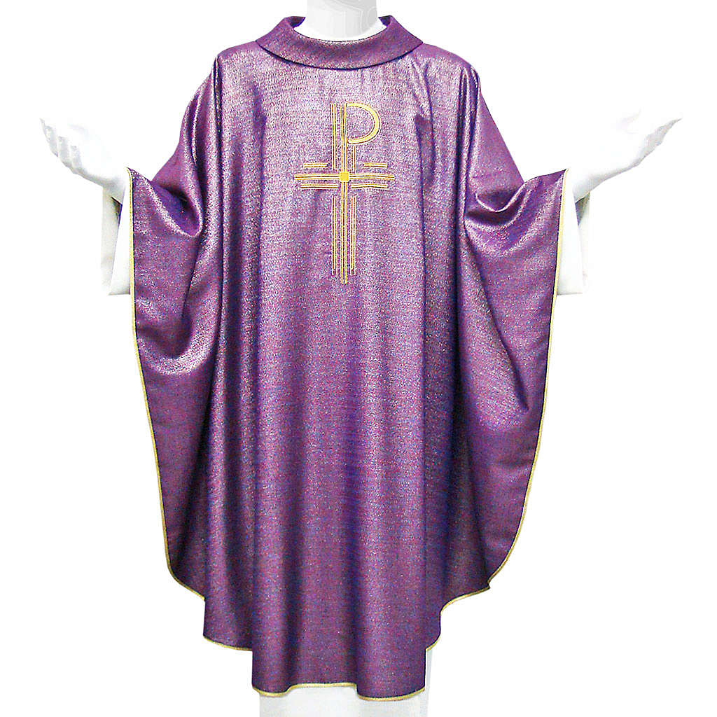 Chasuble liturgique Chi-Rho 100% laine lucide 4