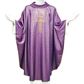 Chasuble liturgique Chi-Rho 100% laine lucide s1