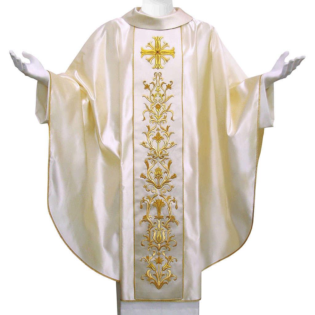 Casulla 100% pura seda natural BORDADO A MANO cruz decorado 4
