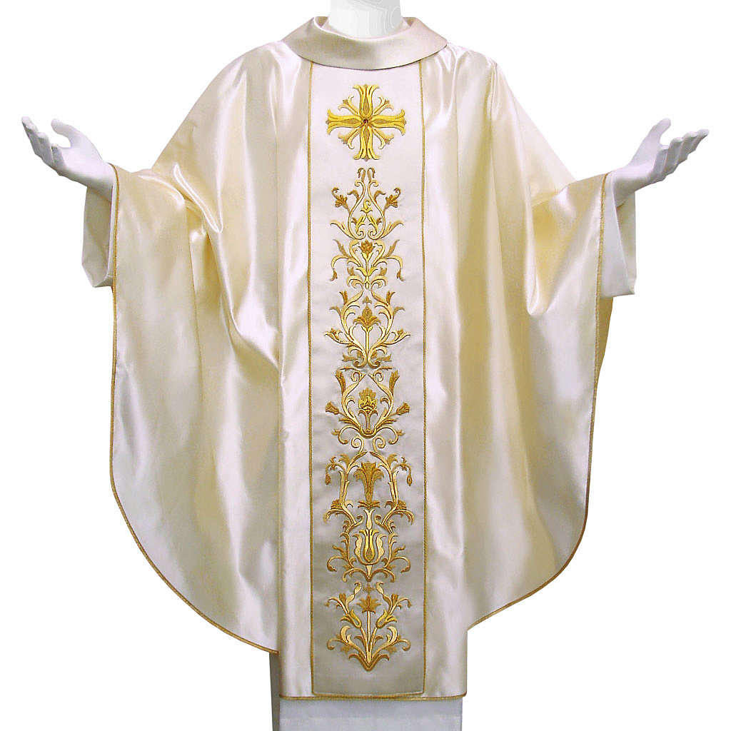 Chasuble in pure silk with hand-embroidered cross 4