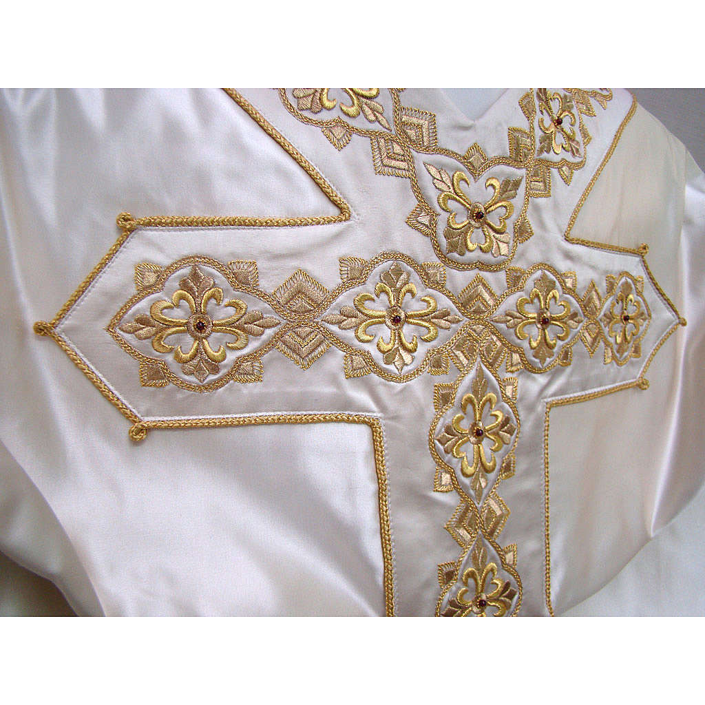 Casulla 100% seda pura natural BORDADO A MANO cruces decoradas 4