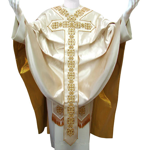 Casulla 100% seda pura natural BORDADO A MANO cruces decoradas 1