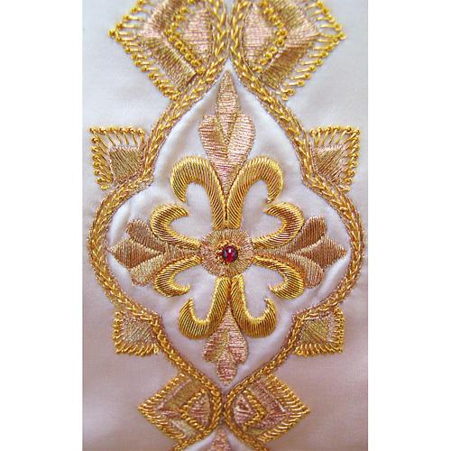 Casulla 100% seda pura natural BORDADO A MANO cruces decoradas 3
