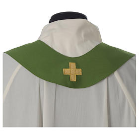 Ivory chasuble with Eucharist symbol in polyester s9