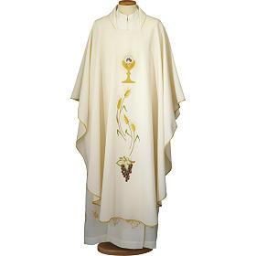 Chasuble ivoire brodée symboles eucharistiques polyester s1