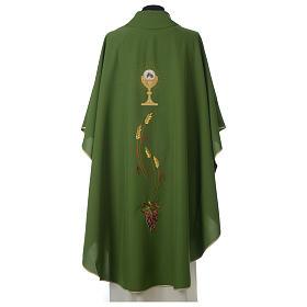Chasuble ivoire brodée symboles eucharistiques polyester s6