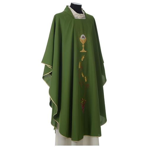 Chasuble ivoire brodée symboles eucharistiques polyester 5
