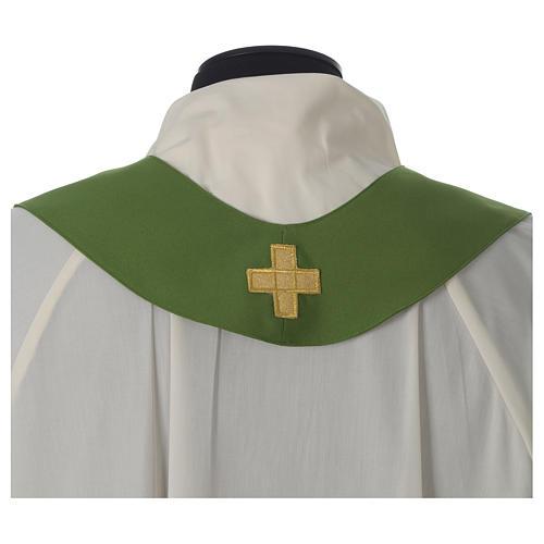 Chasuble ivoire brodée symboles eucharistiques polyester 9