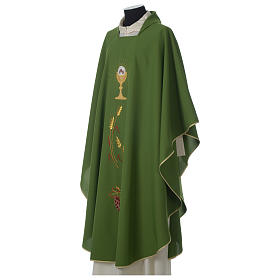 Ivory chasuble with Eucharist symbol in polyester s4