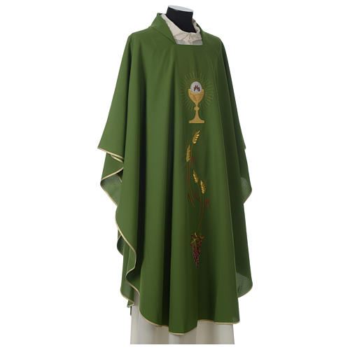 Ivory chasuble with Eucharist symbol in polyester 5