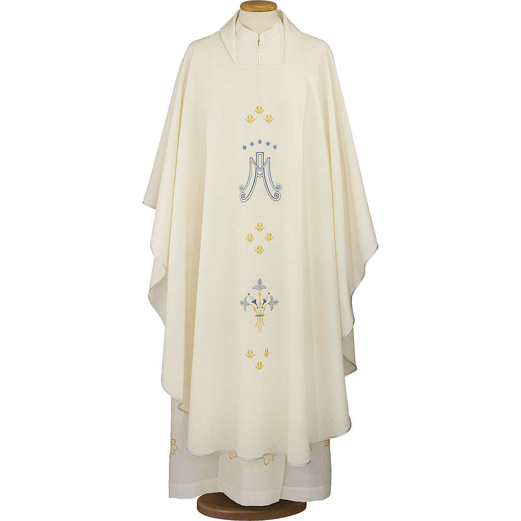 Ivory Marian chasuble in polyester 4