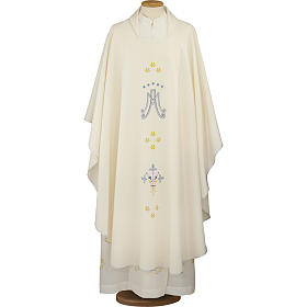 Ivory Marian chasuble in polyester s1