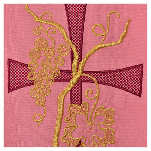 Pink chasuble with cross embroidery 5