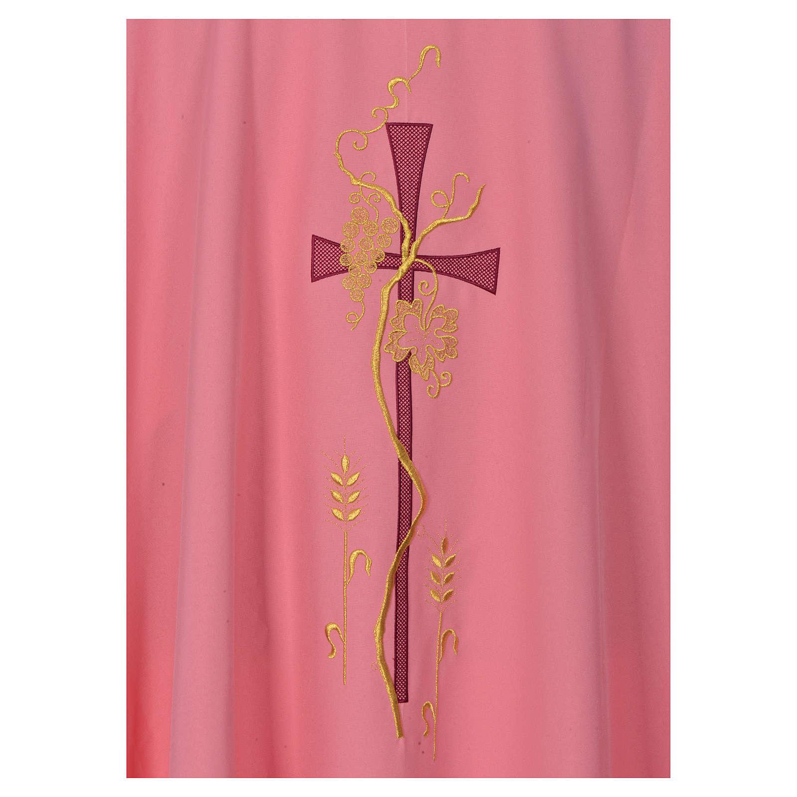 Casula rosa con ricamo croce 4