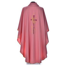Casula cor-de-rosa com bordado cruz s3
