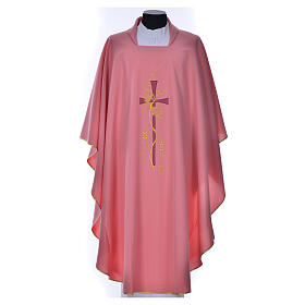 Pink Priest Chasuble with cross embroidery s1