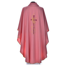 Pink Priest Chasuble with cross embroidery s3