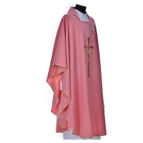 Pink Priest Chasuble with cross embroidery 2