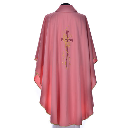 Pink Priest Chasuble with cross embroidery 3